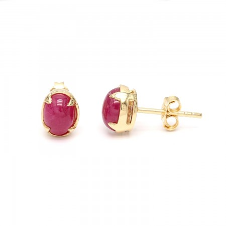 Greenland Ruby Cabochon EArrings
