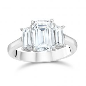 Emerald Cut Three-Stone Engagement Ring