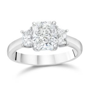 Radiant Cut Three-Stone Engagement Ring