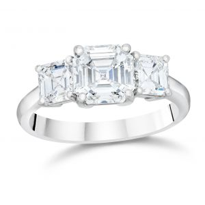 Asscher Cut Three-Stone Engagement Ring