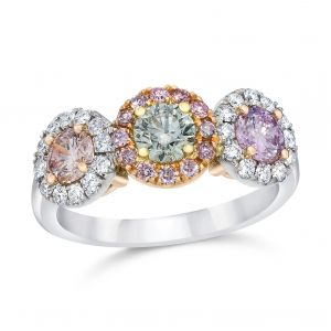Pink Diamond Three-Stone Engagement Ring
