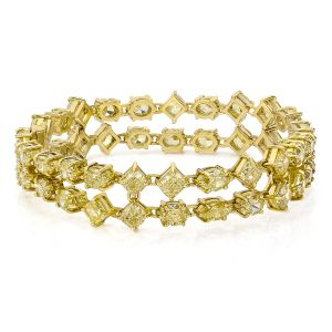 Double Row Diamond and Gold Bracelet