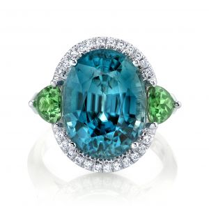Blue Zircon and Tsavorite Ring