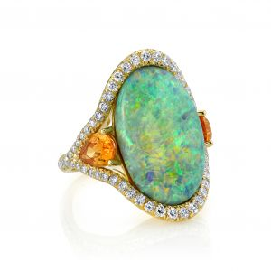 Opal and Mandarin Garnet Ring