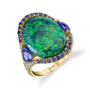 Black Opal and Tanzanite Ring