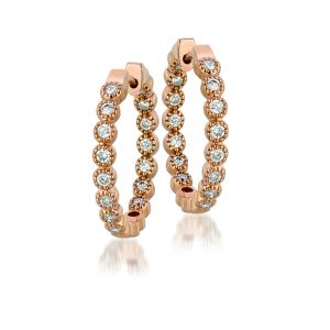 Bezel Diamond Hoops