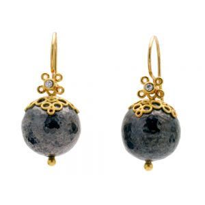 Gold Lace and Ball Earrings