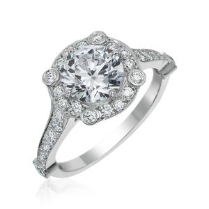 Carousel Single Halo Engagement Ring