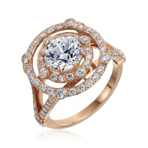 Carousel Double Diamond Halo Engagement Ring