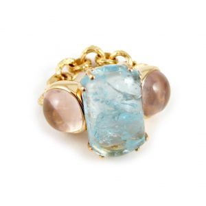 Aquamarine and Quartz Ring