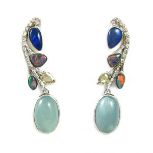 Opal and Aquamarine Earrings
