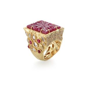 Carved Ruby Ring
