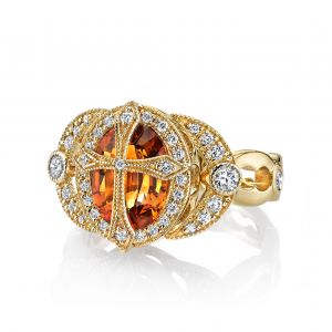 Citrine Cross Ring
