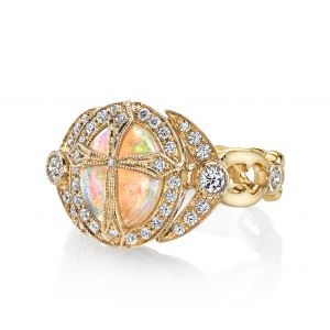 Opal Cross Ring