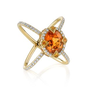 Mandarin Garnet Saturn Ring