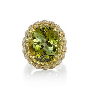 Green Tourmaline Chain Ring