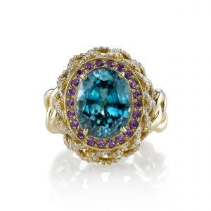 Blue Zircon Chain Ring