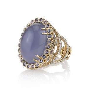 Blue Chalcedony Easter Egg Ring
