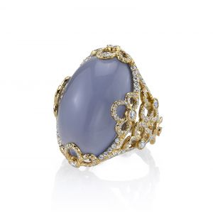 Blue Chalcedony Violet Ring