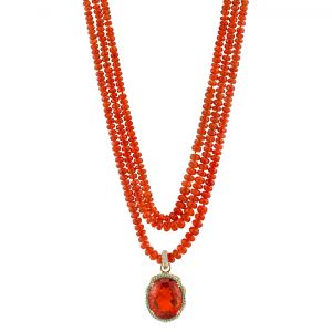Fire Opal Beaded Necklace