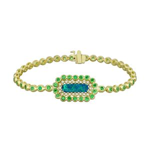 Black Opal and Tsavorite Bracelet