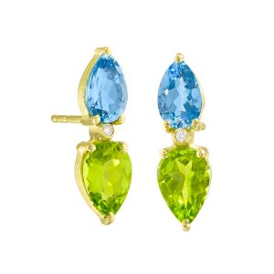 Aquamarine and Peridot Earrings