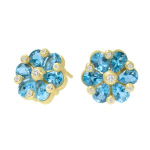 Aquamarine Flower Studs