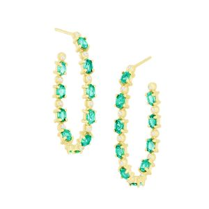 Green Tourmaline Hoops