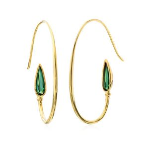 Teardrop Tourmaline Hoop Earrings
