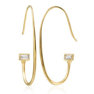 Diamond Baguette Hoop Earrings