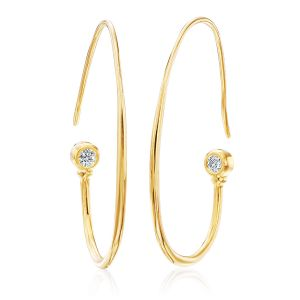 Gold Hoops with Diamond Accent
