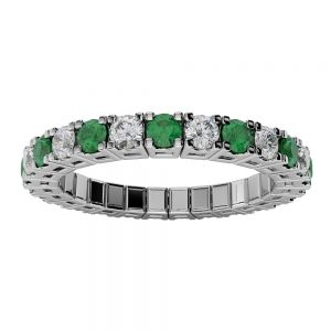 Emerald and Diamond Spryngs Ring