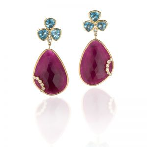 Ruby and Aquamarine Earrings