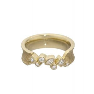 Textured Gold Cluster Ring