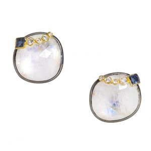 Moonstone and Sapphire Earrings