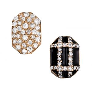 Enamel and Diamond Earrings