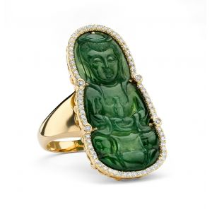 Carved Jade Buddha Ring