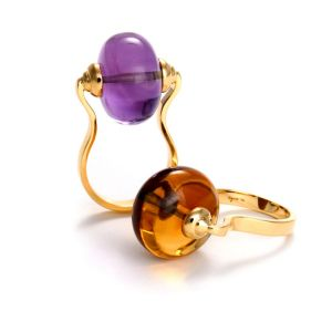 Amethyst and Citrine Rings