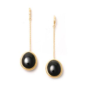 Black Spinel Chain Earrings