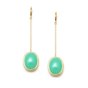 Chrysoprase Chain Earrings