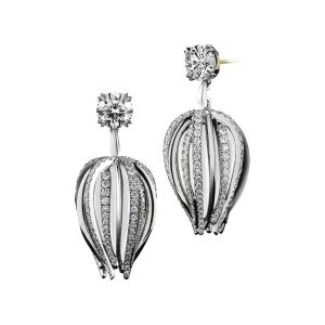 Curved Dangling Diamond Earrings