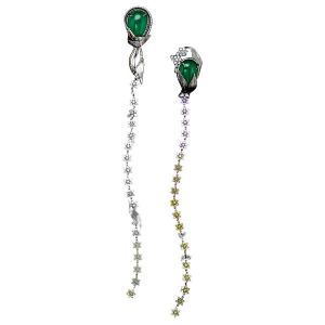 Emerald & Diamond Flower Earrings