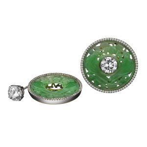 Diamond & Jade Stud Earrings