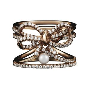 Diamond & Pearl Bow Ring