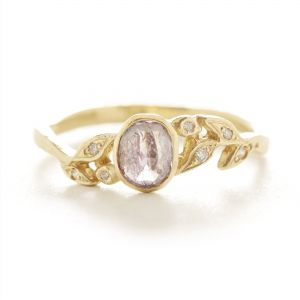 Vine Lavender Diamond Leaf Ring