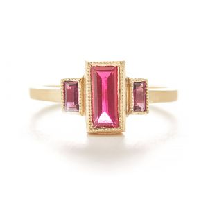 Blockette Spinel and Sapphire Ring