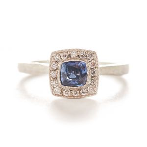 Etruscan Blue Sapphire Halo Ring
