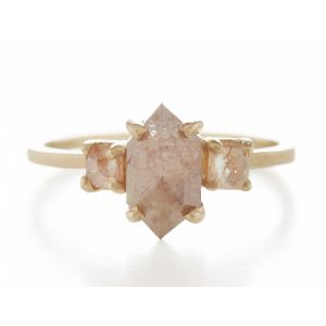 Facet Three Stone Opaque Diamond Ring