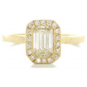 Etruscan Emerald Cut Diamond Halo Ring