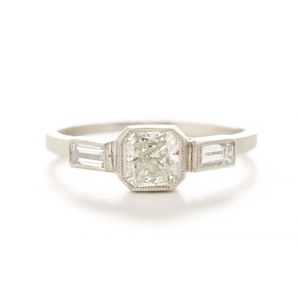Blockette Three Diamond Platinum Ring